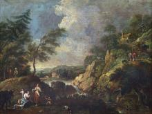 ZAIS GIUSEPPE (1709 - 1784) Attributed to. Fluviale landscape with little fall and laundesses.