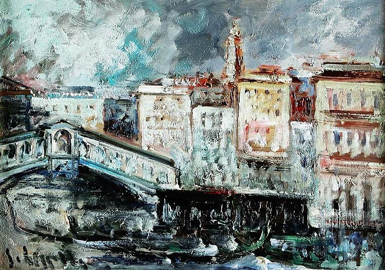 CARMELO CAPPELLO (1912-1996), View of Venice, Oil