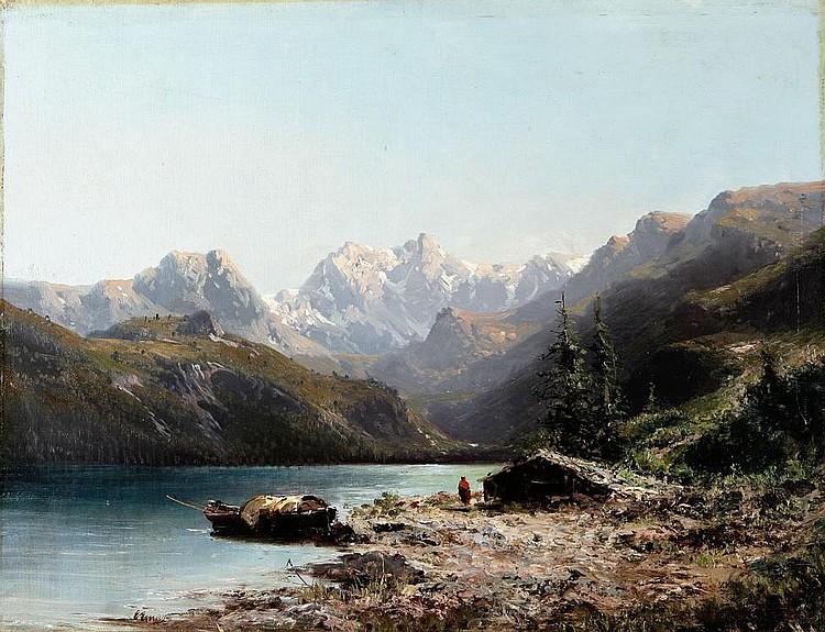 EUGENIO AMUS (1833-1899), Landscape, Oil on