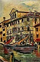 G. SCARPA, Canal grande,  Oil on canvas,, Gino Scarpa, Click for value