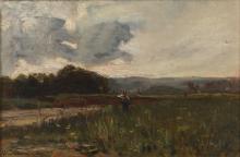 AVONDO VITTORIO (1836 - 1910) Landscape with figure.
