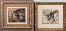 Pair of Cityscapes, Etchings (Early 20th Century)