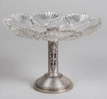 Russian Silver and Cut Crystal Compote   *