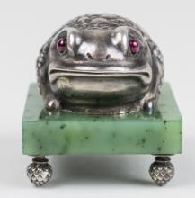 Russian Silver Frog Figure   *