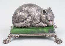 Russian Silver Cat Figure   *