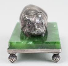 Russian Silver Pig Figure   *