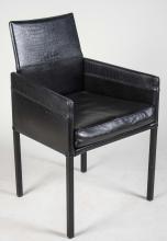 Italian Black Leather Chair