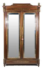 Empire Style Mirrored Door Armoire