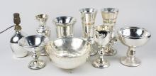 Group of Mercury Glass Vases, Bowl and Lamp