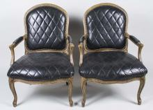 Pair of Louis XV Style Painted Fauteuils