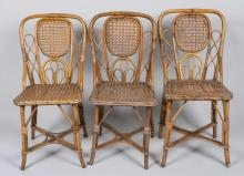 Set of Three Caned Bent Wood Chairs