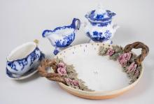 Three Flow Blue Dishes