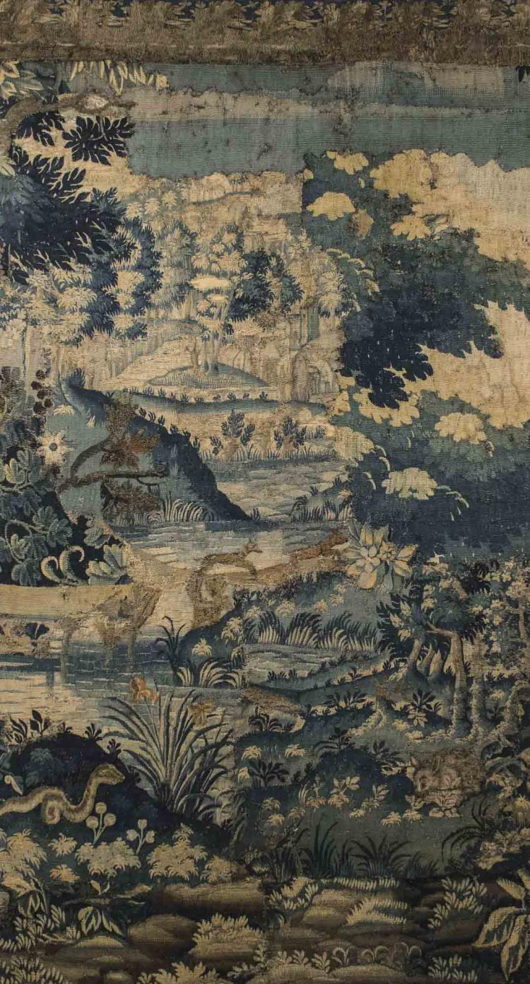 Tapestry Of A Forest Scene