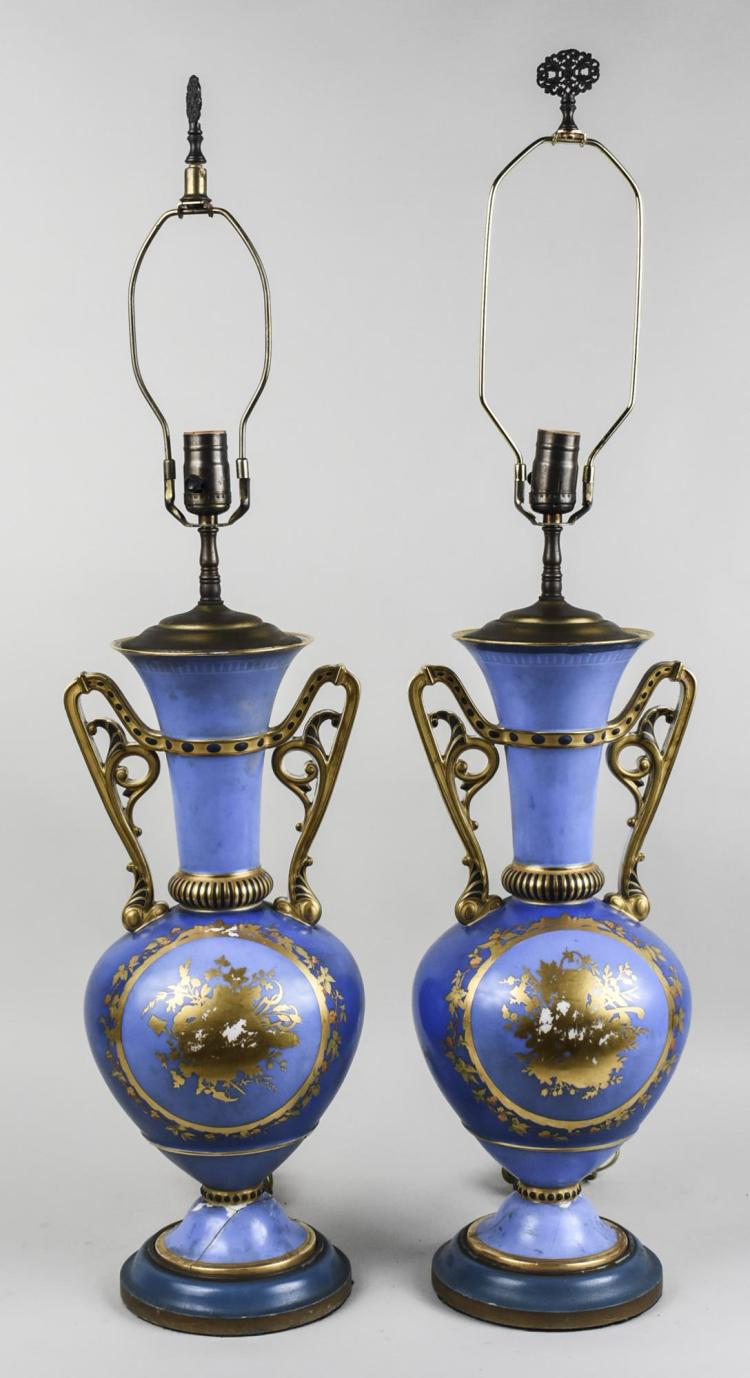 Decorative Wall Lamps China : Pair of Sevres Style Porcelain Lamps