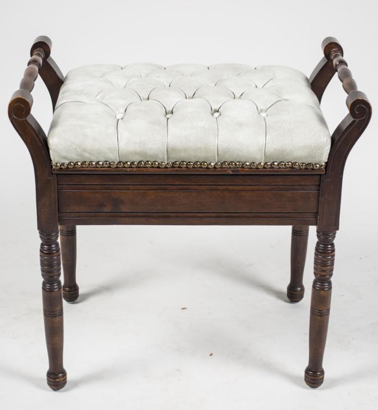 Victorian Style Mahogany Piano Bench