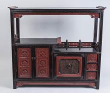 Korean Red Lacquer Bookshelf  *