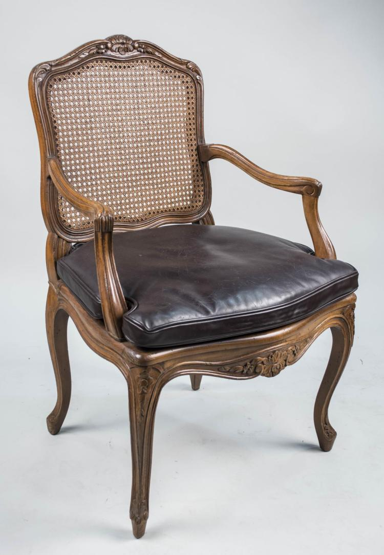 Louis xv style caned fauteuil - Fauteuil style louis xv ...