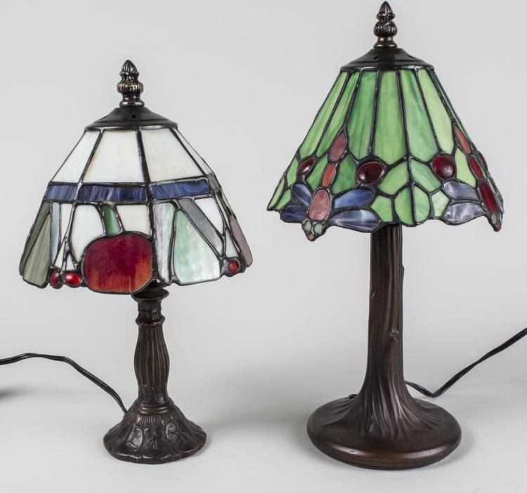 two tiffany style leaded glass lamps. Black Bedroom Furniture Sets. Home Design Ideas