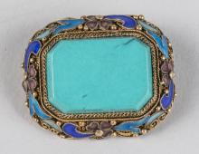 Chinese Silver and Turquoise Brooch