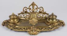 Baroque Brass Inkstand   *