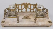 Continental Gilt Bronze and Marble Inkstand