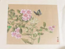 Asian Still Life of Flowers and Butterfly
