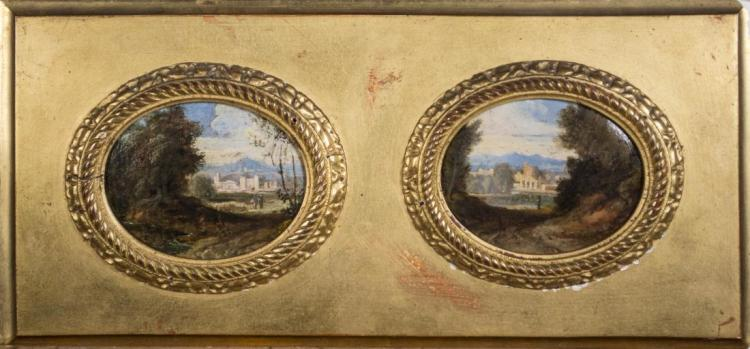 Pair of Miniature Paintings of European Estates