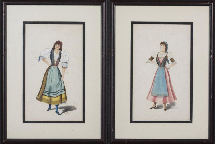 Pair of Watercolors of Gypsies