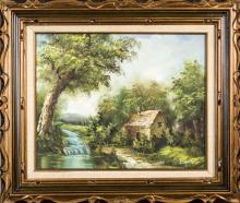 I. Cafieri, Oil of a Stream Next to a Cottage
