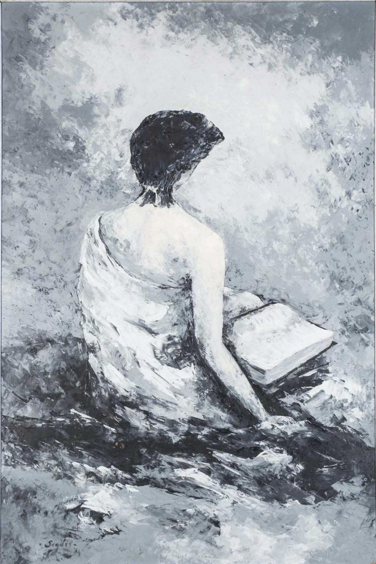 Woman Reading Oil on Canvas, Signed Scanes