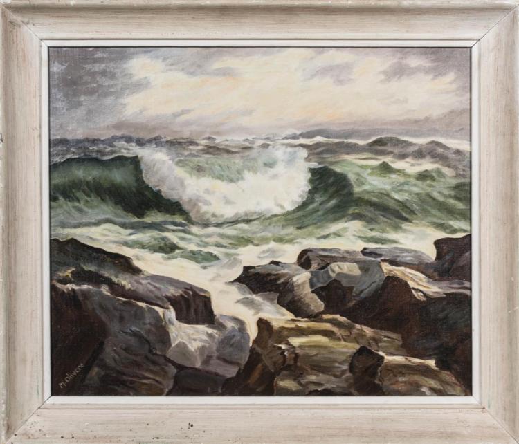 Coastal Scene, Signed M. Olivere
