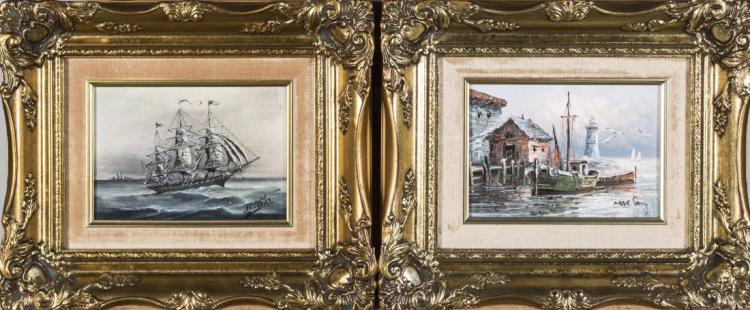 Pair of Small 20th Century Nautical Paintings
