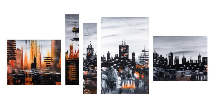Group of Paintings of the New York Skyline