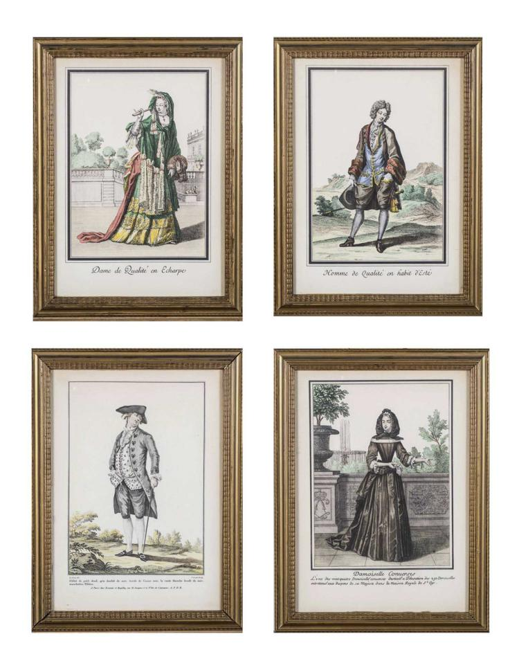 Four Antique French Fashion Plates