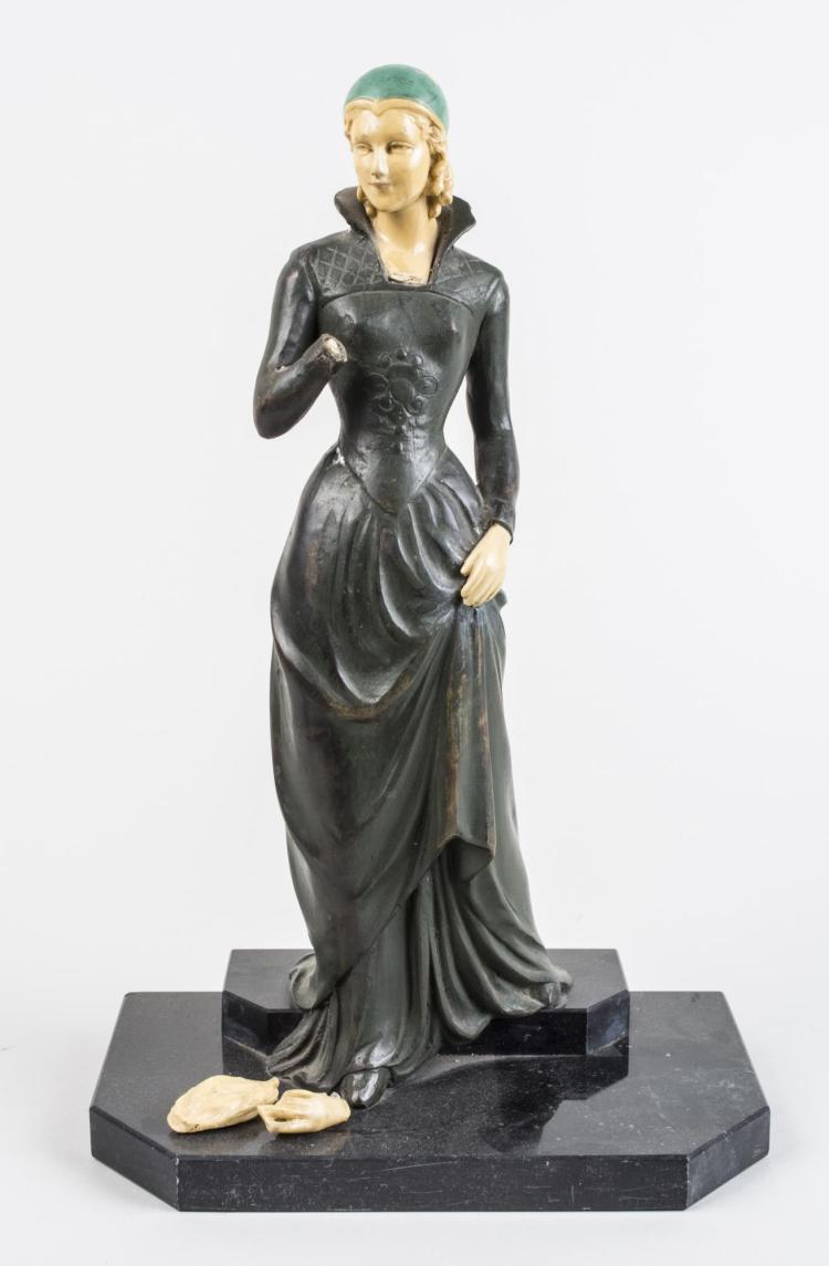 Patinated Metal Figure of a Renaissance Female