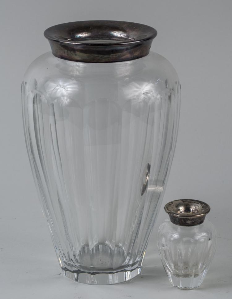 Two Silver Mounted Glass Vases