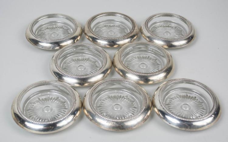 Set of Eight Saben Sterling Silver Coasters