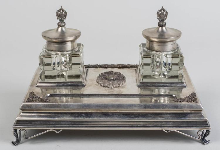 Russian Silver Inkstand   *