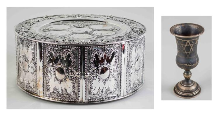 Silvered Matzoh Box and Sterling Kiddush Cup