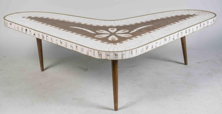 Mid Century Mosaic Top Boomerang Coffee Table