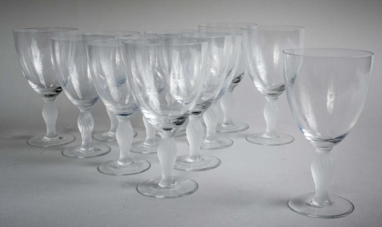 Set of Twelve Lalique Style Wine Glasses