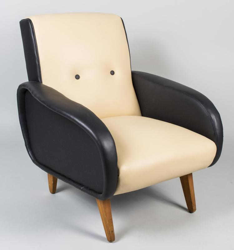 Marco Zanuso Style Leather Lounge Chair
