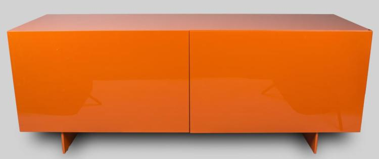 Piero Lissoni Orange Lacquered Cabinet
