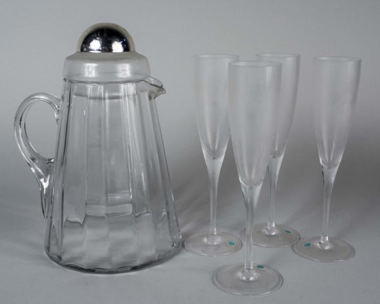 Set of Four Tiffany & Co. Champagne Flutes