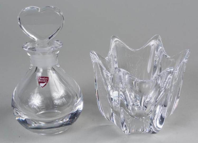 Orrefors Crystal Perfume Bottle and Bowl