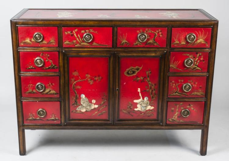 Theodore Alexander Red Lacquered Chest