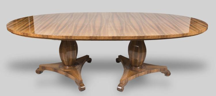 Exotic Wood Double Pedestal Dining Table