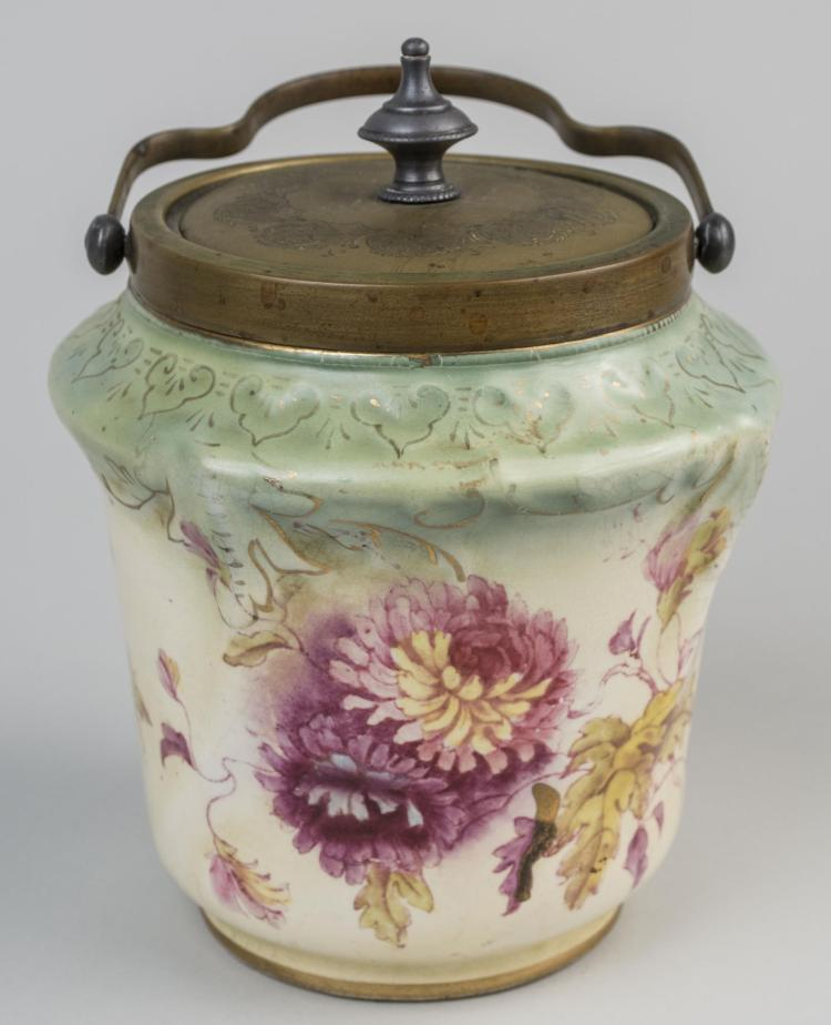 English Devon Ware Biscuit Barrel