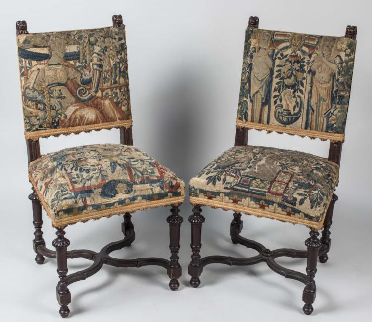 Pair of Regence Style Walnut Side Chairs