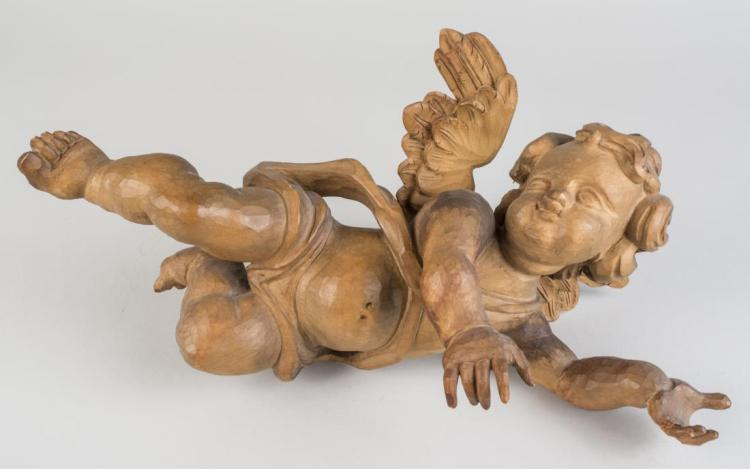 Continental Carved Wood Cherub